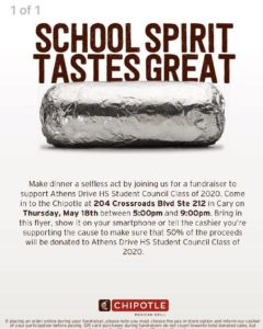 Eat @ Chipotle – Support the Class of 2020!